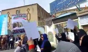 اعتراض معلمین در کرمانشاه و شرکت زنان در آن