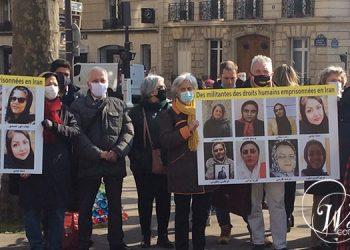 شرکت کنندگان در این گردهمایی که در میدان اینا در مقابل سفارت رژیم برگزار شد