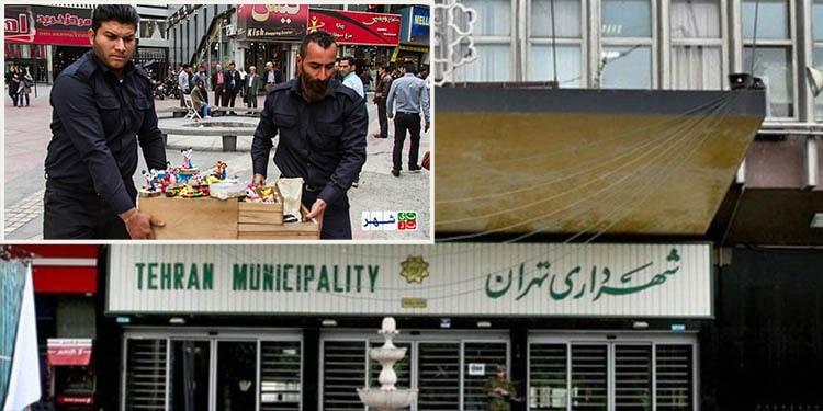 جمع آوری اجناس دستفروشان توسط مأموران شهرداری