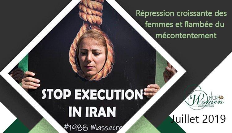 Rapport Mensuel de la Commission des Femmes du Conseil national de la Résistance iranienne – juillet 2019