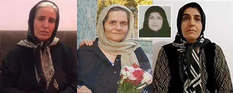 De gauche à droite, Mme Afkari, Farangis Mazloum, Fatemeh Vakili (en médaillon) et Sharareh Sadeghi