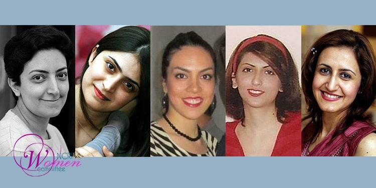 Cinq femmes bahaïes convoquées pour purger leur peine d'un an à Machad. De gauche à droite : Naghmeh Zabihian, Nika Pakzadan, Nakisa Hajipour, Faraneh Daneshgari et Sanaz Es'haghi.