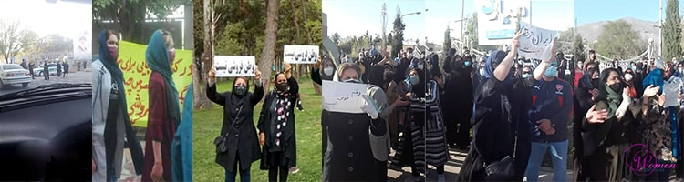 Des femmes manifestant contre le contrat anti-iranien ; de gauche à droite : Ispahan, Kazeroun, Kermanchah et Karadj.