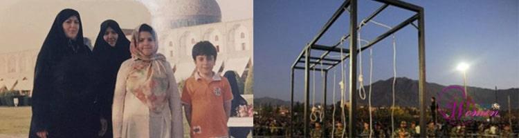 Zahra Esma'ili, une parente et ses deux enfants (à gauche) ; lieu des pendaisons collectives dans la prison de Gohardacht où Zahra a été pendue