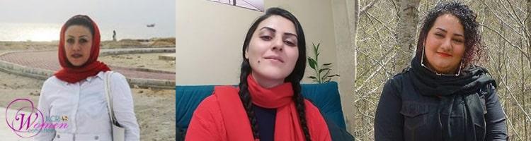 Depuis la gauche : Maryam Akbari Monfared, Golrokh Iraee, et Atena Daemi