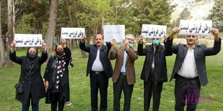 Un groupe à Kermanchah, dans l'ouest de l'Iran, protestant contre le contrat bradant les ressources de l'Iran à la Chine.