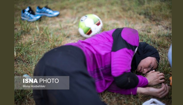 female player injured by the side of the field