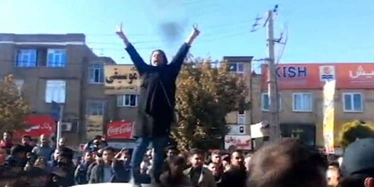 Fatemeh Davand during protest in Boukan
