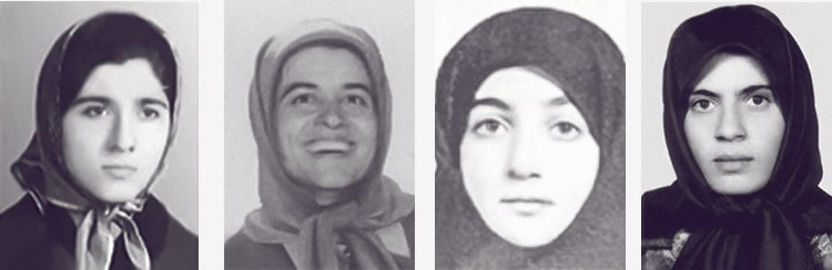Victims of the 1988 Massacre: From left, Dr. Massoumeh Karimian, Razieh Ayatollahzadeh, Nahid Tahsili and Roghieh Akbari Monfared
