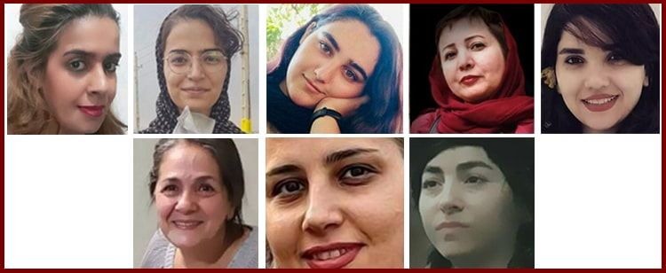 Clockwise from top left: Khadijeh Mehdipour, Ashraf Nafarieh, Elham Samimi, Aliyeh Motallebzadeh, Shabnam Ashouri, Neda Pirkhezranian, Bahareh Soleimani and Nahid Taghavi