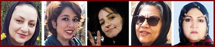 From left, Mojgan Kavousi, Saba Kord Afshari, Massoumeh Senobari, Nejat Anvar Hamidi and Fatemeh Mosanna