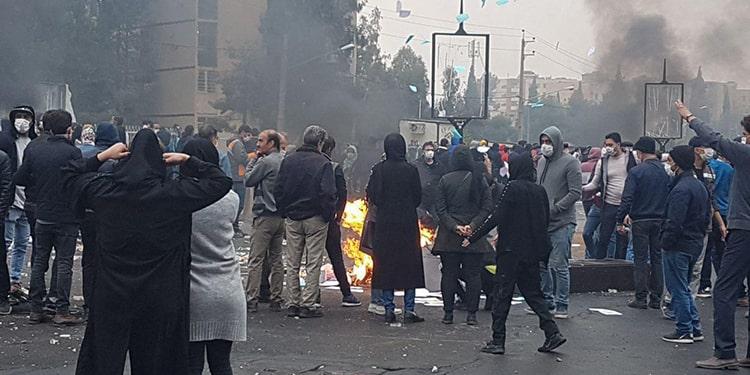 a scene from November 2019 uprising in Tehran