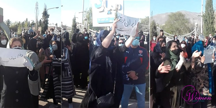Women in the protest in Karaj on Tuesday, March 30