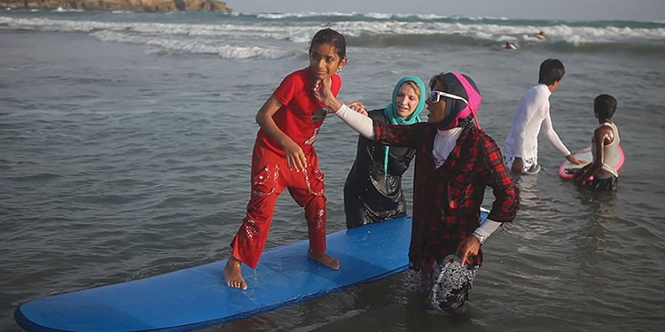In the southern province of Sistan and Baluchestan, many girls are interested in surfing