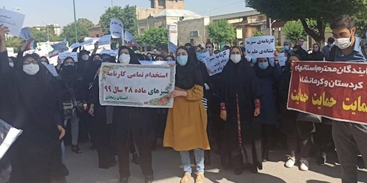 Women partake in protests by social security pensioners, teachers, students