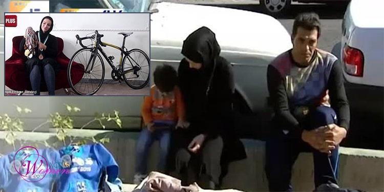Atousa Abbasi is peddling next to her son