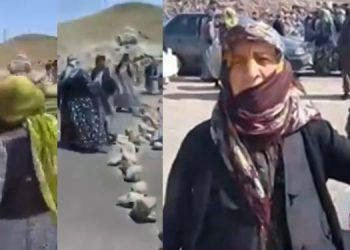 Women of Noghodi Olia blocked the road to protest lack of drinking water