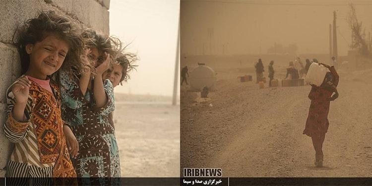 Little girls caught in a sandstorm in Sistan and Baluchestan